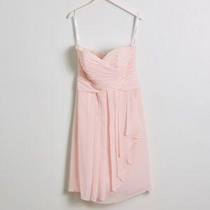 Davids Bridal Petal Pink Strapless Chiffon Dress